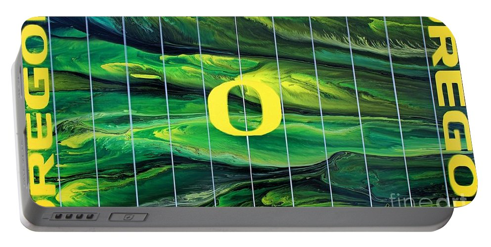 University Of Oregon Portable Battery Charger featuring the painting Oregon Football by Michael Cross