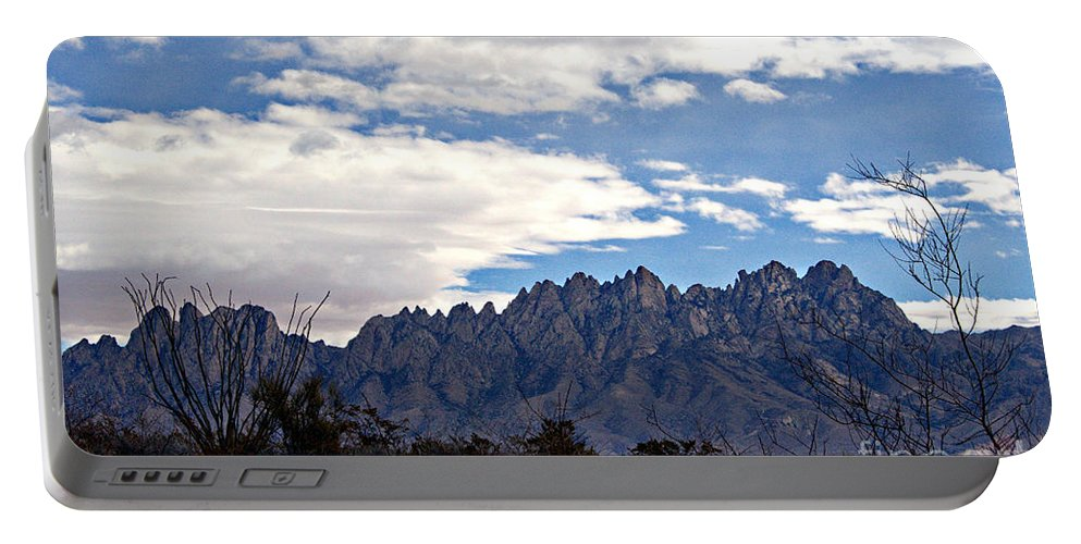 Organ Mountains Print Portable Battery Charger featuring the photograph Organ Mountain Landscape by Barbara Chichester