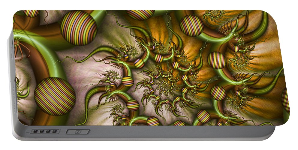 Abstract Portable Battery Charger featuring the digital art Organic Playground by Gabiw Art