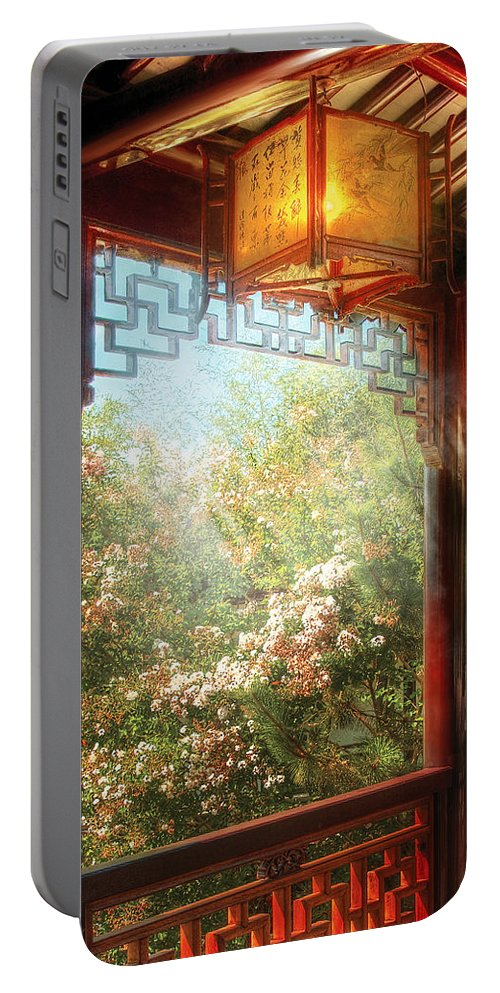 Savad Portable Battery Charger featuring the photograph Orient - Lamp - Simply Chinese by Mike Savad