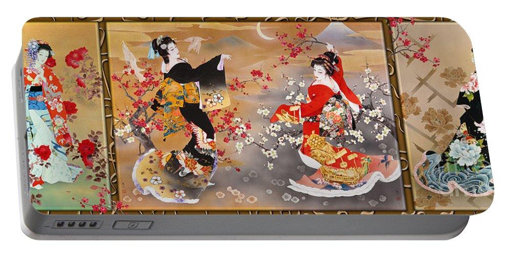 Haruyo Morita Digital Art Portable Battery Charger featuring the digital art Oriental Triptych by Haruyo Morita