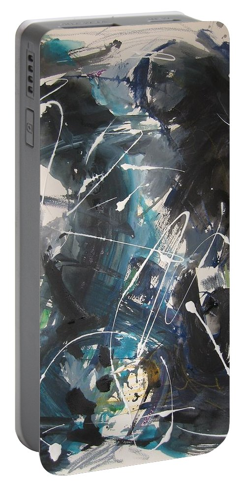 Blue Black Paintings Portable Battery Charger featuring the painting original abstract blue and black painting for sale-Blue Valley by Seon-Jeong Kim