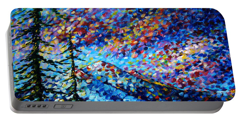 Abstract Portable Battery Charger featuring the painting Original Abstract Impressionist Landscape Contemporary Art By Madart Mountain Glory by Megan Duncanson