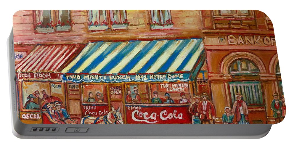 Montreal Scenes Portable Battery Charger featuring the painting Original Bank Notre Dame Street by Carole Spandau