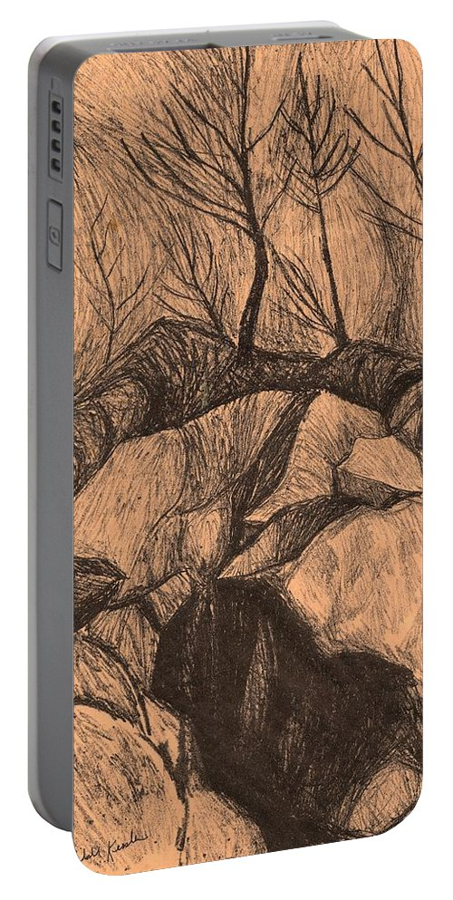 Kendall Kessler Portable Battery Charger featuring the drawing Original Looking Up by Kendall Kessler