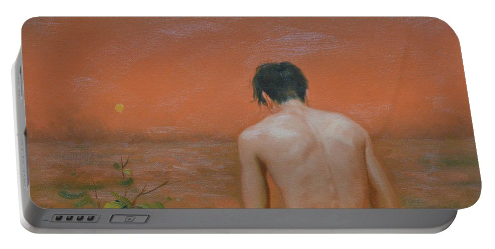 Original Portable Battery Charger featuring the painting Original Oil Painting Gay Man Art-male Nude#16-2-5-43 by Hongtao   Huang