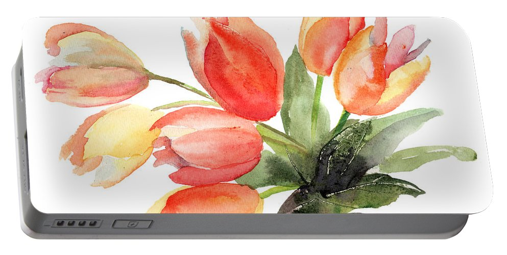 Backdrop Portable Battery Charger featuring the painting Original Tulips Flowers by Regina Jershova