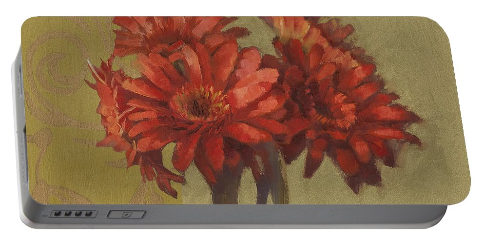 Floral Portable Battery Charger featuring the painting Ornamental Gerbers by Cathy Locke