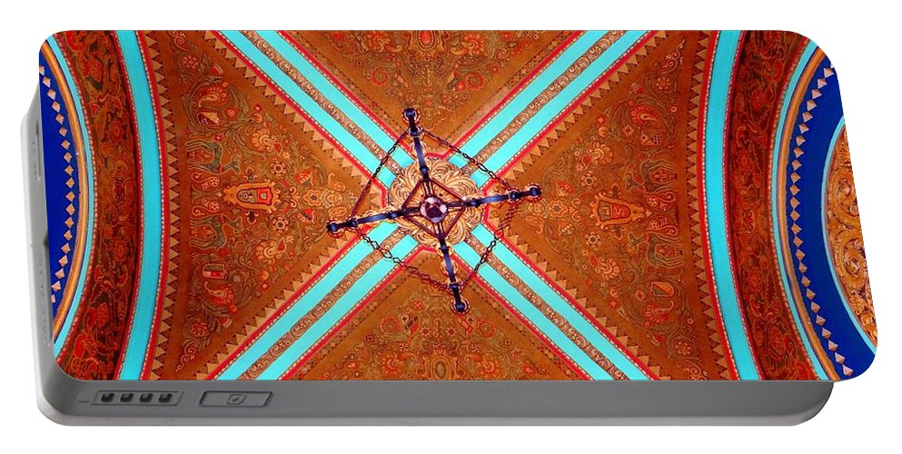 Movie Theater Portable Battery Charger featuring the photograph Ornate Ceiling by Ed Weidman