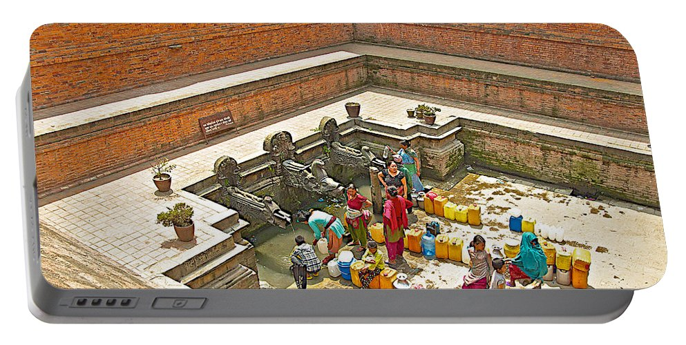 Ornate Fountains With Holy Water From The Bagmati River In Patan Durbar Square In Lalitpur In Nepal Portable Battery Charger featuring the photograph Ornate Fountains With Holy Water From The Bagmati River In Patan Durbar Square In Lalitpur-nepal  by Ruth Hager