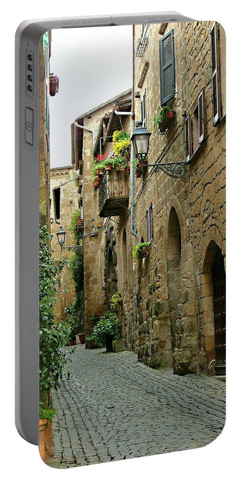 Orvieto Lane Portable Battery Charger featuring the photograph Orvieto Lane by Ellen Henneke