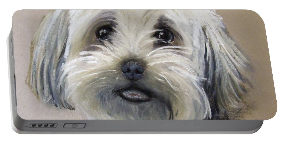 Dog Portable Battery Charger featuring the pastel Oscar by Rosemarie Temple-Smith