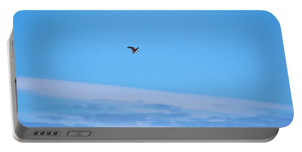 Finland Portable Battery Charger featuring the photograph Osprey And A Pike High Over The Clouds by Jouko Lehto
