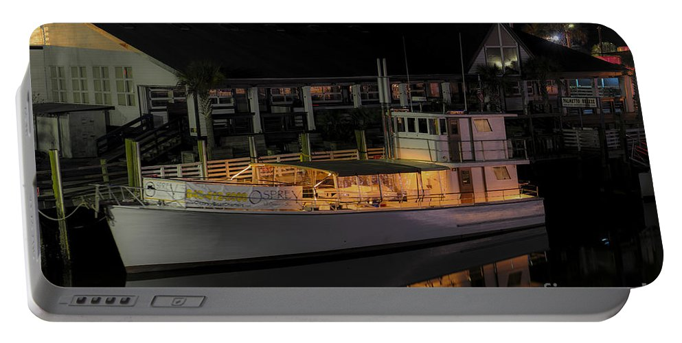 Osprey Portable Battery Charger featuring the photograph Osprey On Shem Creek by Dale Powell