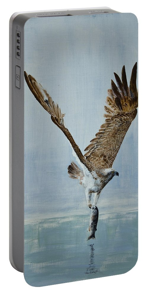 Osprey Portable Battery Charger featuring the painting Osprey With Fish by Alan Pickersgill