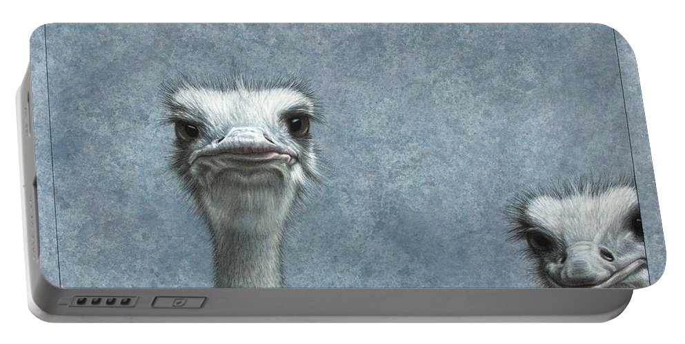 Ostriches Portable Battery Charger featuring the painting Ostriches by James W Johnson
