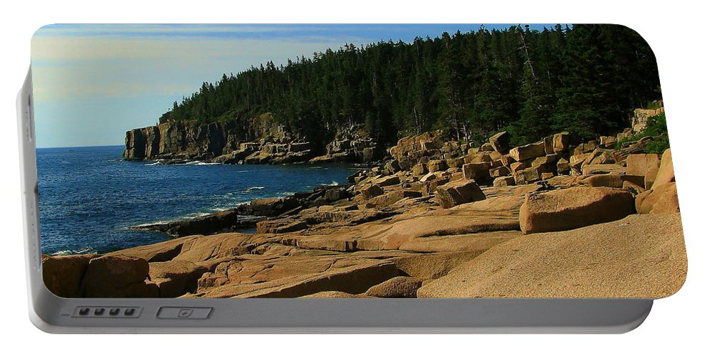 Otter Cliff Portable Battery Charger featuring the photograph Otter Cliff by Jeff Heimlich