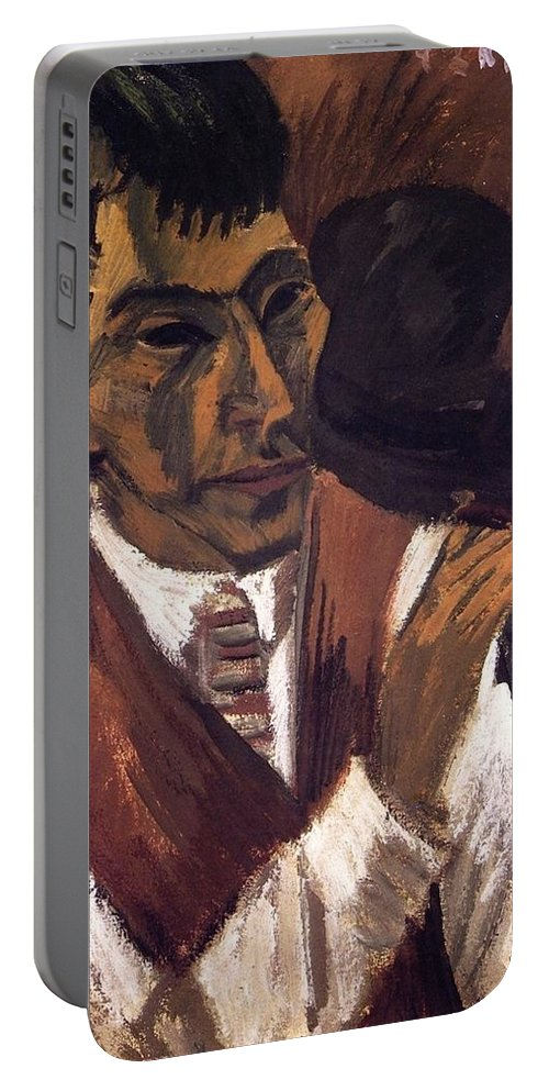1913 Portable Battery Charger featuring the painting Otto Mueller With Pipe by Ernst Ludwig Kirchner