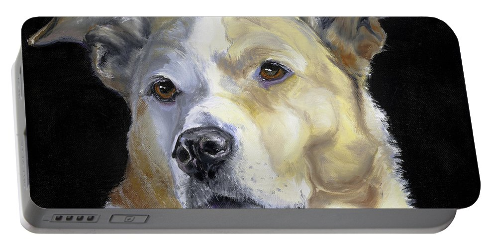 Dogs Portable Battery Charger featuring the painting Our Hero by Susan A Becker