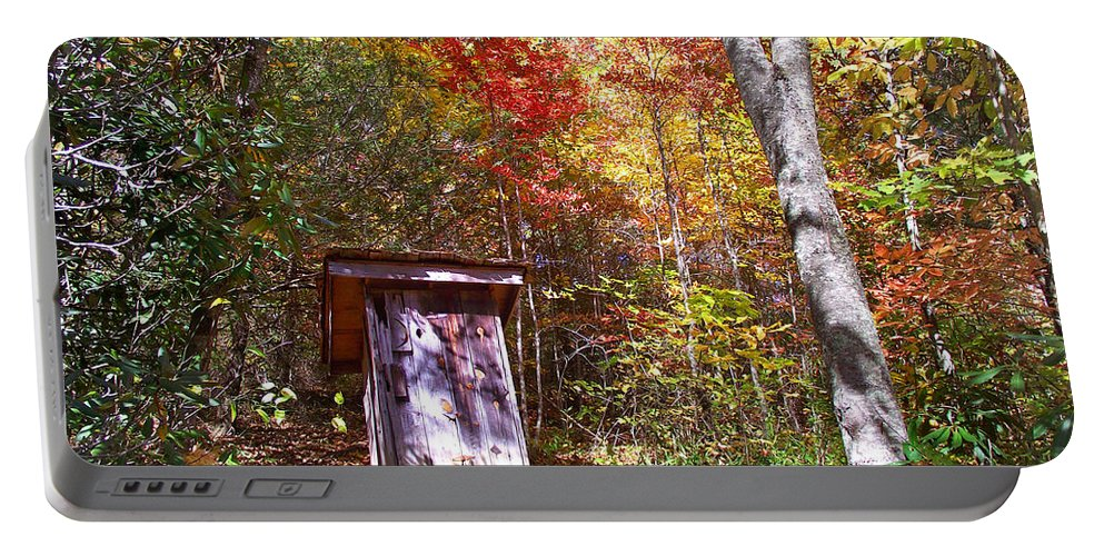 Out Houses Portable Battery Charger featuring the photograph Out House In The Fall by Duane McCullough