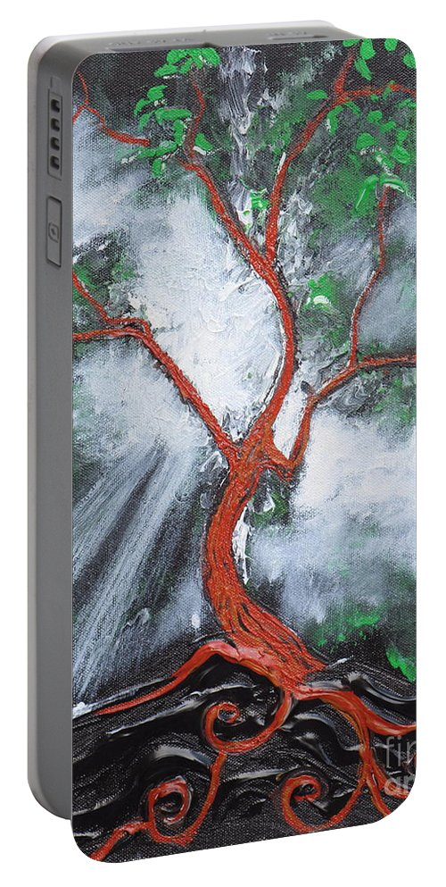 Tree Portable Battery Charger featuring the painting Out Of Darkness by Stefan Duncan
