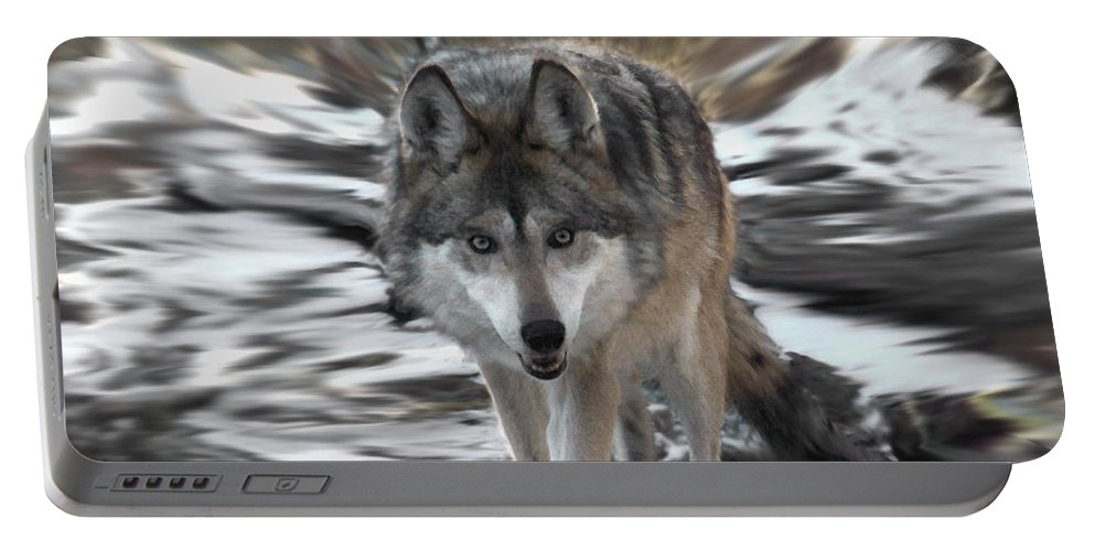 Wolf Portable Battery Charger featuring the digital art Out Of Nowhere by Ernie Echols