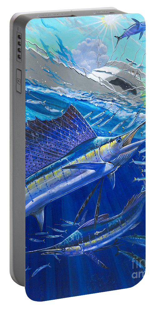 Sailfish Portable Battery Charger featuring the painting Out Of Sight by Carey Chen