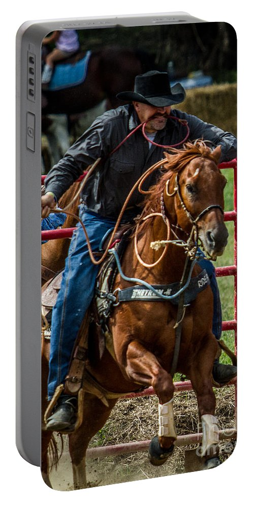 Animals Portable Battery Charger featuring the photograph Out Of The Gate by Eleanor Abramson