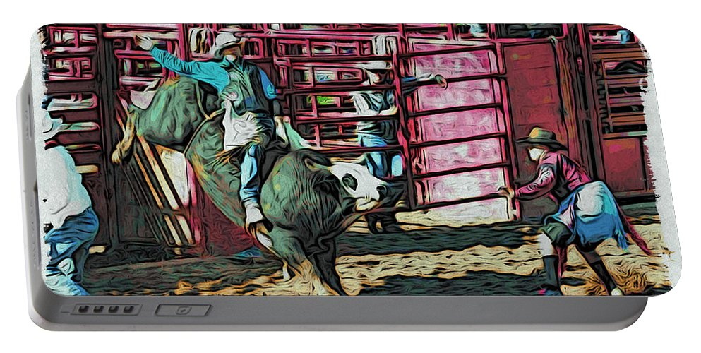 Bullrider Portable Battery Charger featuring the photograph Out The Chute by Alice Gipson