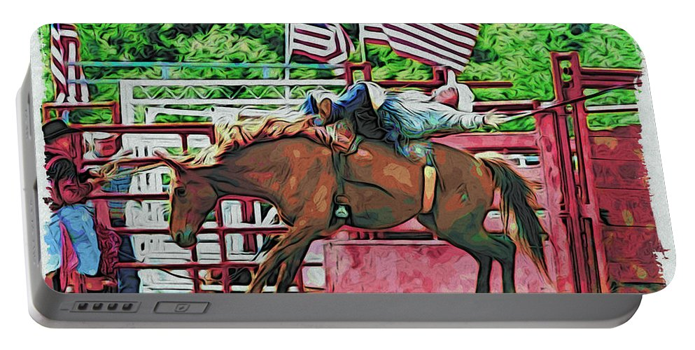 Bronc Riding Portable Battery Charger featuring the photograph Out The Gate by Alice Gipson