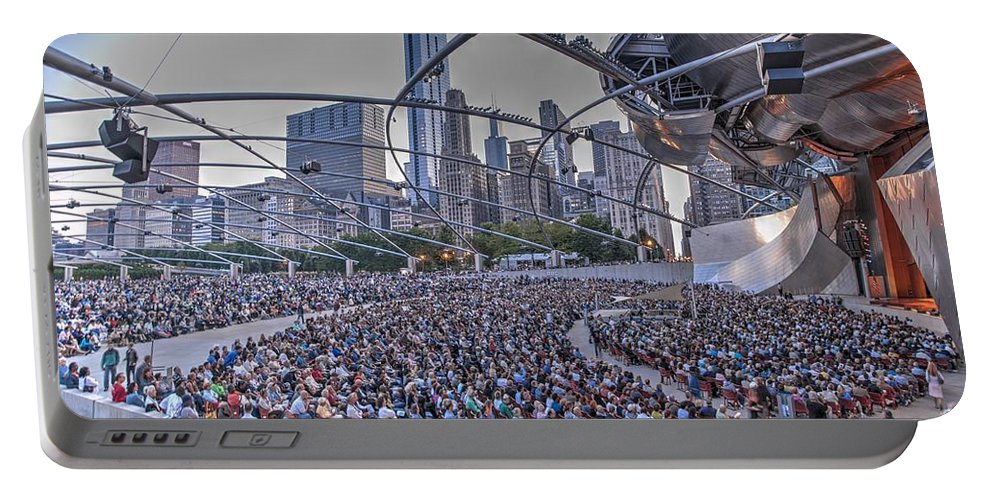 Chicago Portable Battery Charger featuring the photograph Chicago Outdoor Concert by Patrick Warneka