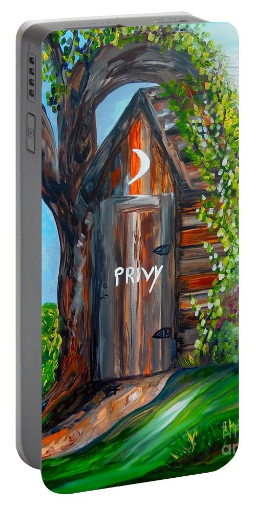 Out House Portable Battery Charger featuring the painting Outhouse - Privy - The Old Out House by Eloise Schneider Mote