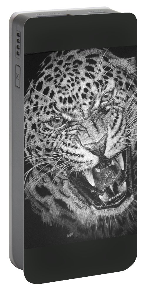 Leopard Portable Battery Charger featuring the mixed media Outrage by Barbara Keith