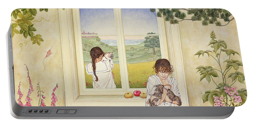 Window Portable Battery Charger featuring the photograph Outside Out Times Julie, 1988 by Ditz