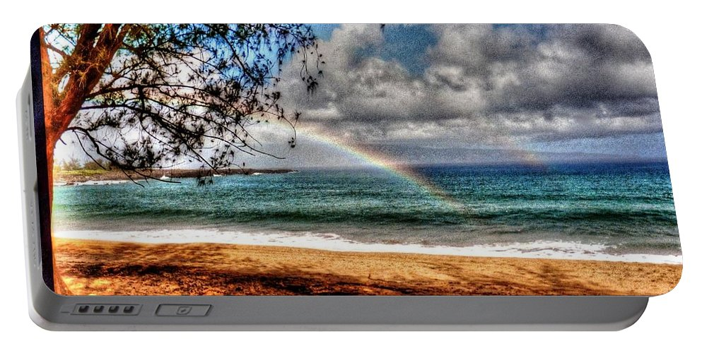 Rainbow Portable Battery Charger featuring the photograph Over The Rainbow by Michael Damiani