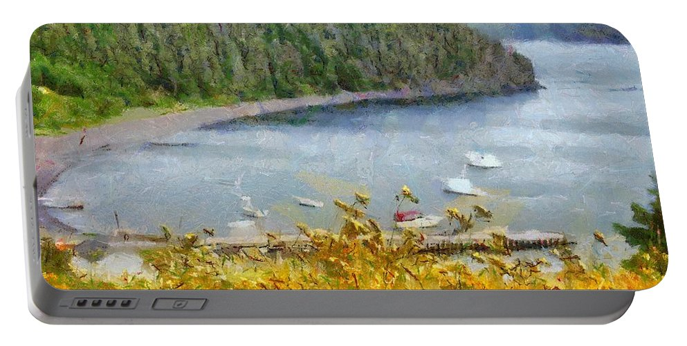 Canadian Portable Battery Charger featuring the painting Overlooking the Harbor by Jeffrey Kolker