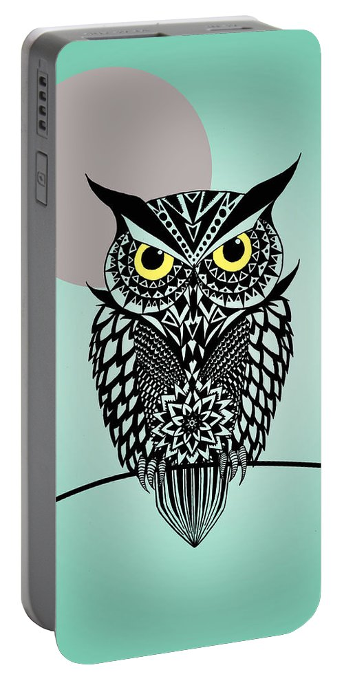 Owl Portable Battery Charger featuring the digital art Owl 5 by Mark Ashkenazi
