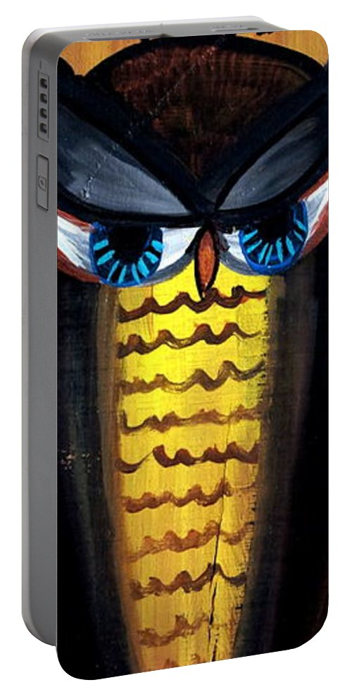 Owl Portable Battery Charger featuring the painting Owl by Ashley Galloway