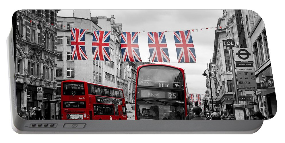 Street Portable Battery Charger featuring the photograph Oxford Street Flags by Matt Malloy