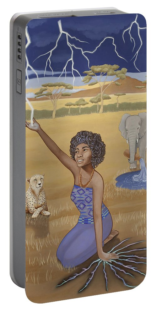 Aquarius Portable Battery Charger featuring the painting 'aquarius / Oya' by Karen MacKenzie
