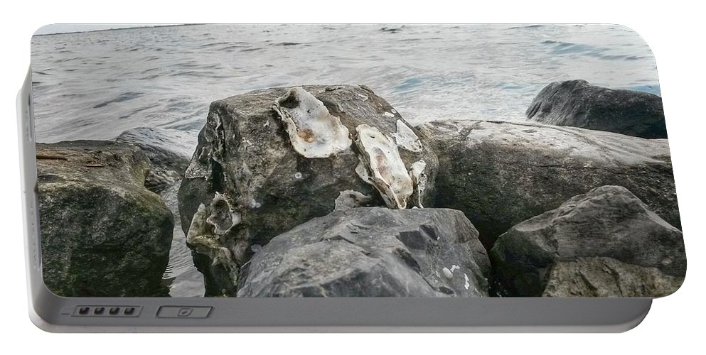 Louisiana Portable Battery Charger featuring the photograph Oysters On The Rocks by John Duplantis