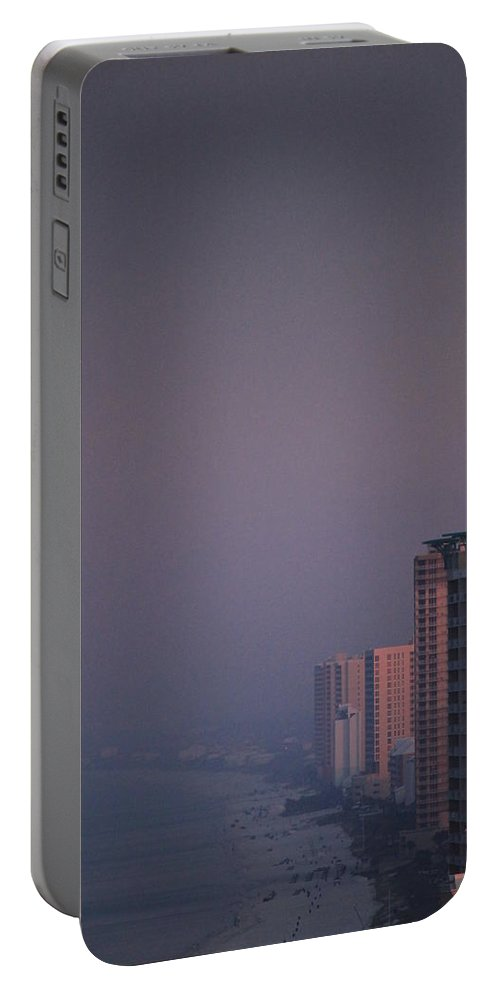 Pink Portable Battery Charger featuring the photograph Panama City Beach In The Morning Mist by Jennifer E Doll