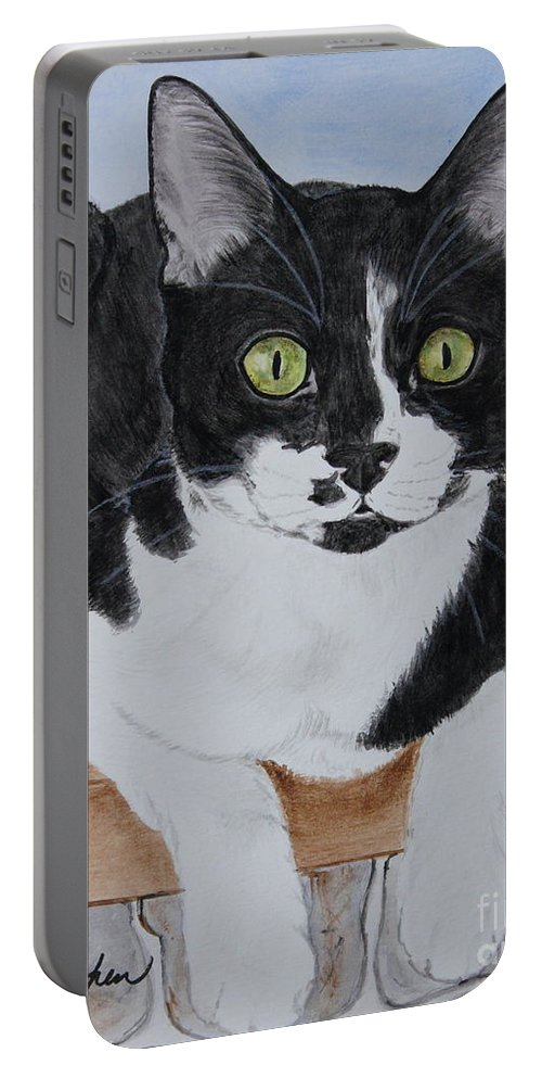 Cat Portable Battery Charger featuring the painting Pablo The Cat by Megan Cohen