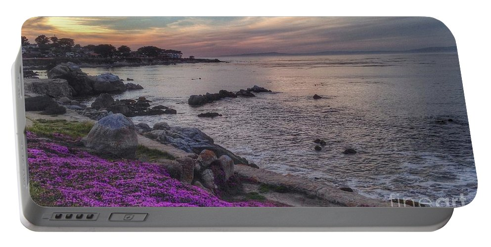 Coastal Portable Battery Charger featuring the photograph Sunset In Pacific Grove by Charlene Mitchell