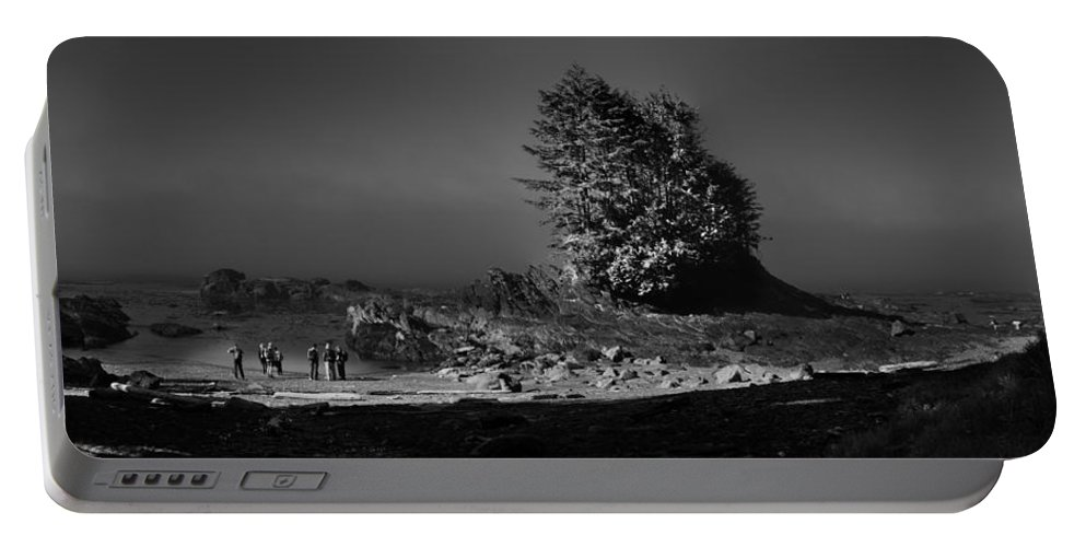 Black And White Landscape Portable Battery Charger featuring the photograph Pacific Shore Juan De Fuca Park by Peter v Quenter