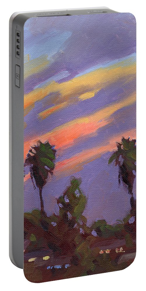 Sunset Portable Battery Charger featuring the painting Pacific Sunset 1 by Konnie Kim