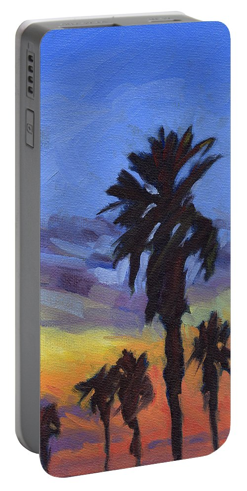 Sunset Portable Battery Charger featuring the painting Pacific Sunset 2 by Konnie Kim