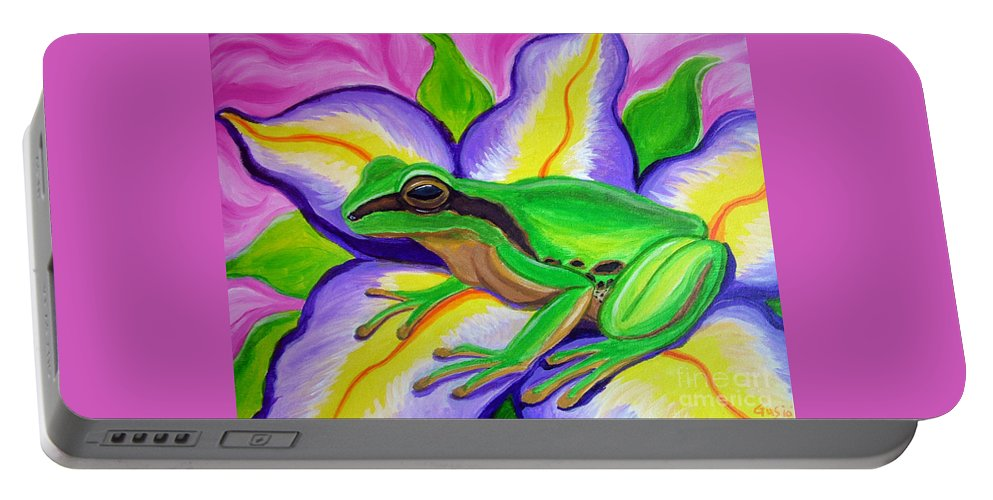 Pacific Tree Frog Portable Battery Charger featuring the painting Pacific Tree Frog And Flower by Nick Gustafson