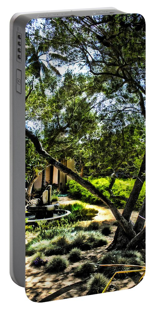 Fountain Portable Battery Charger featuring the photograph Pacifica Courtyard by Danuta Bennett