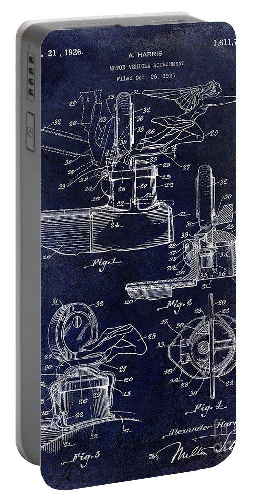 Packard Hood Ornament Portable Battery Charger featuring the photograph Packard Hood Ornament Blue by Jon Neidert